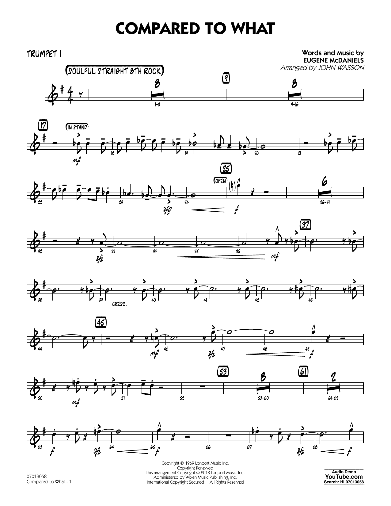John Wasson Compared To What - Trumpet 1 sheet music notes and chords. Download Printable PDF.