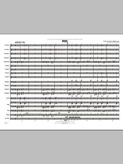 John Wasson Free - Conductor Score (Full Score) sheet music notes and chords. Download Printable PDF.