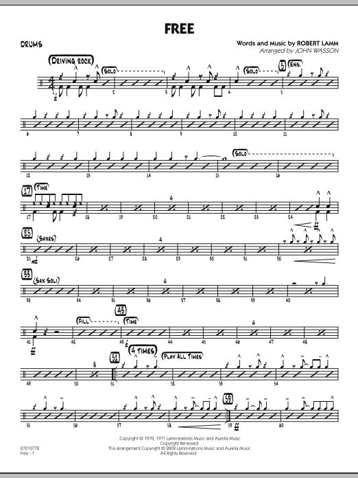 John Wasson Free - Drums sheet music notes and chords