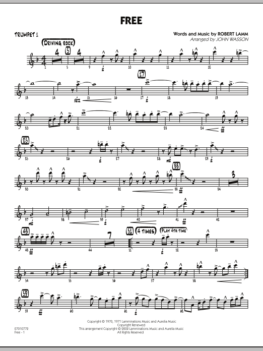 John Wasson Free - Trumpet 1 sheet music notes and chords