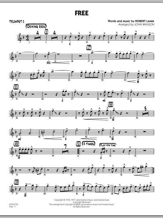 John Wasson Free - Trumpet 2 sheet music notes and chords. Download Printable PDF.