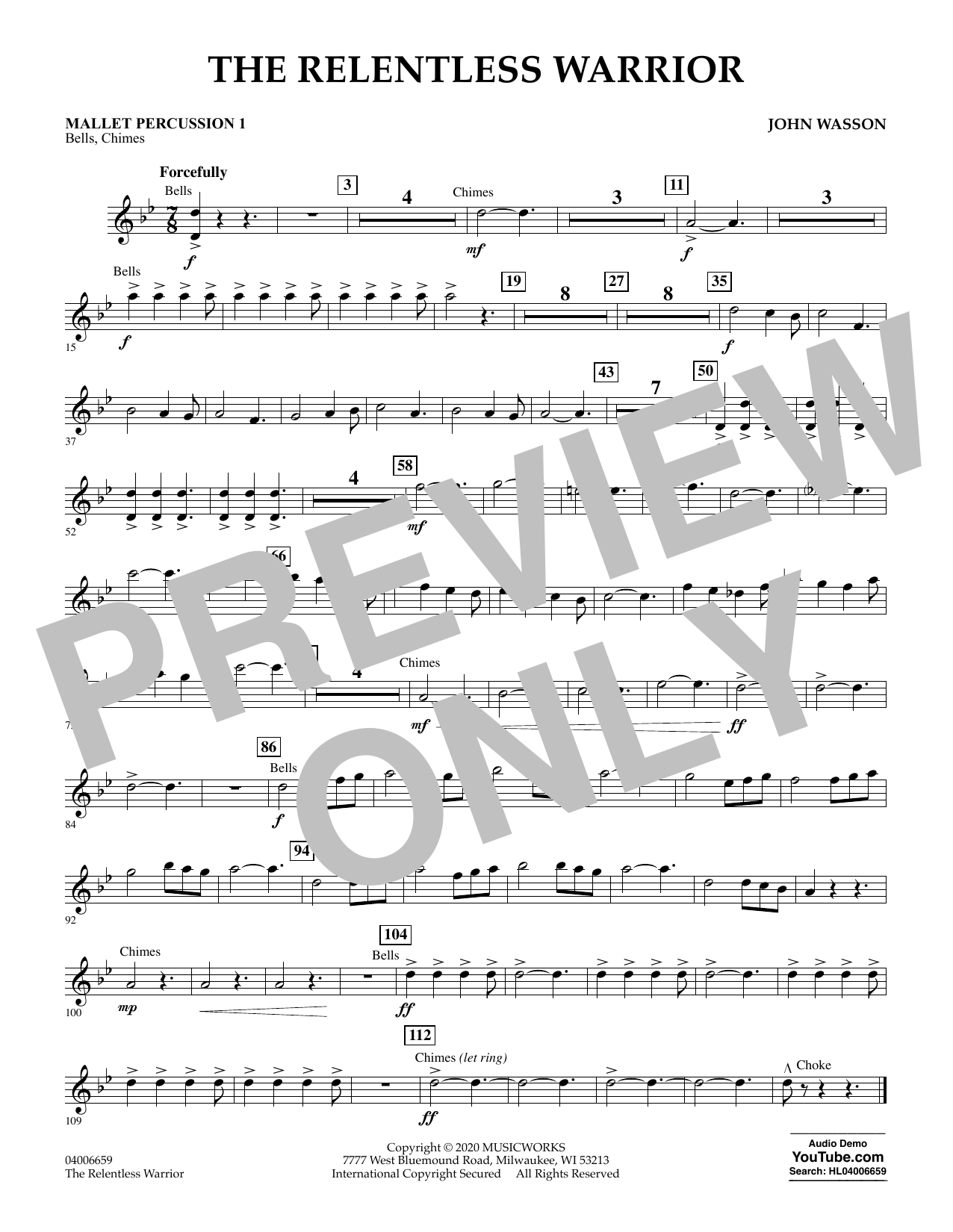 John Wasson The Relentless Warrior - Mallet Percussion 1 sheet music notes and chords. Download Printable PDF.
