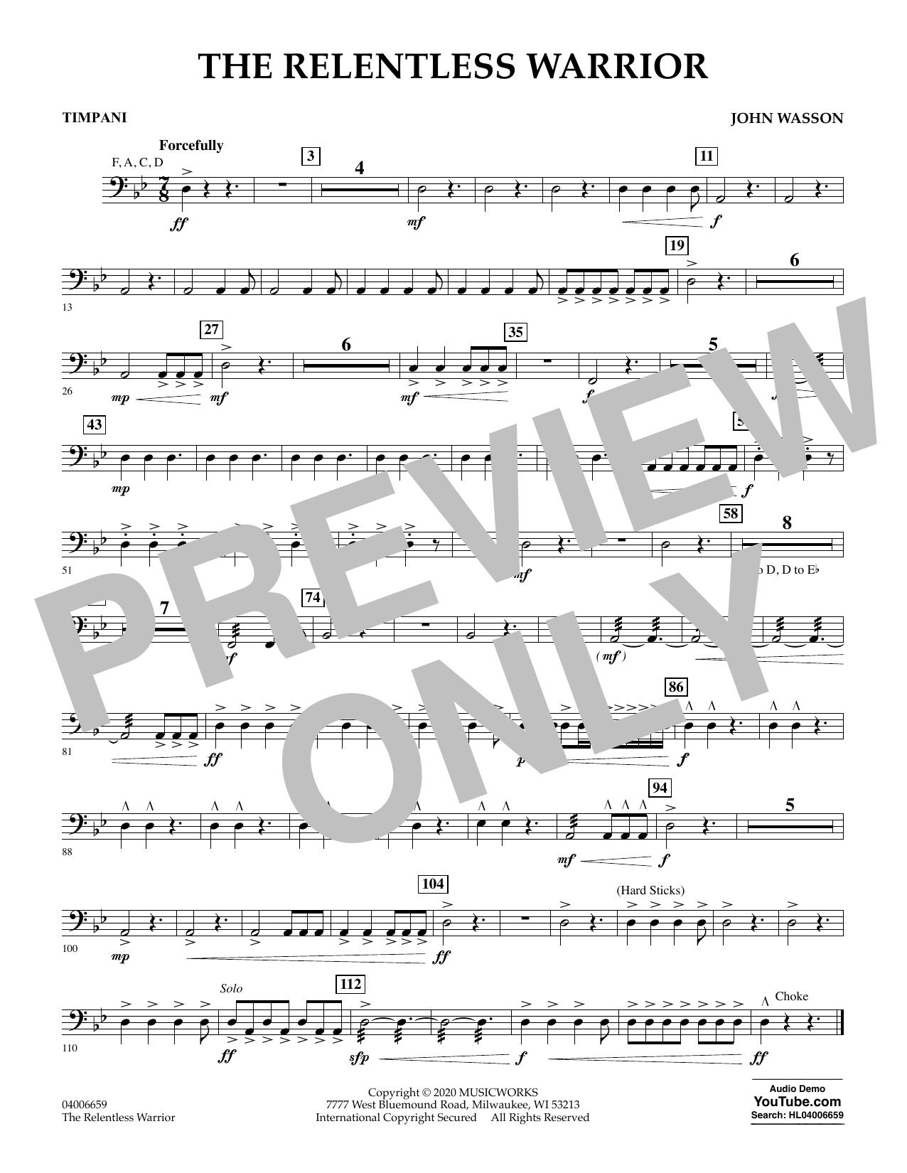 John Wasson The Relentless Warrior - Timpani sheet music notes and chords. Download Printable PDF.