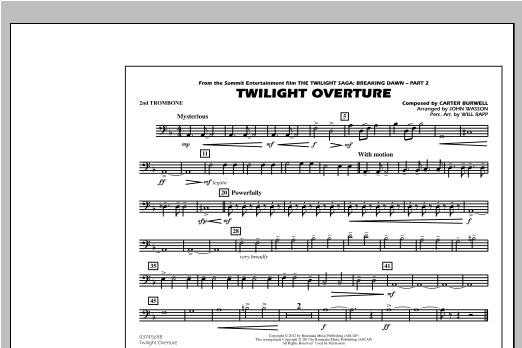 John Wasson Twilight Overture - 2nd Trombone sheet music notes and chords. Download Printable PDF.