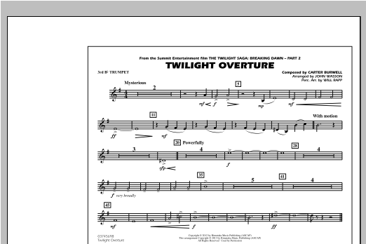 John Wasson Twilight Overture - 3rd Bb Trumpet sheet music notes and chords. Download Printable PDF.