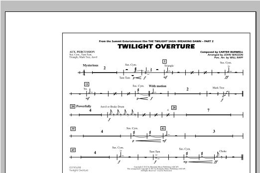 John Wasson Twilight Overture - Aux Percussion sheet music notes and chords. Download Printable PDF.