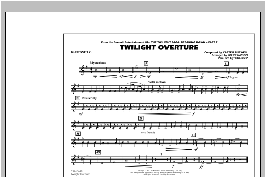 John Wasson Twilight Overture - Baritone T.C. sheet music notes and chords. Download Printable PDF.