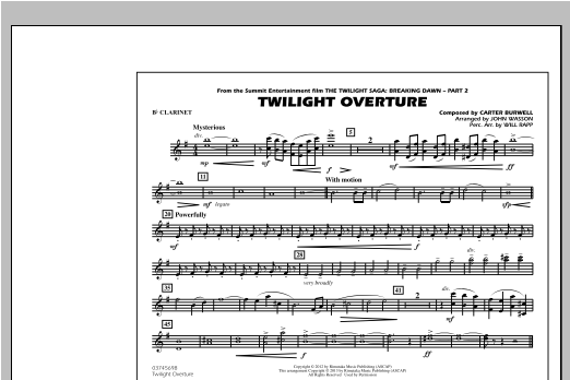 John Wasson Twilight Overture - Bb Clarinet sheet music notes and chords. Download Printable PDF.