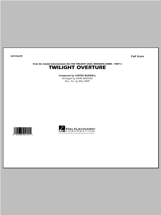 John Wasson Twilight Overture - Conductor Score (Full Score) sheet music notes and chords. Download Printable PDF.