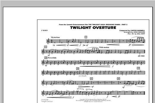 John Wasson Twilight Overture - F Horn sheet music notes and chords. Download Printable PDF.