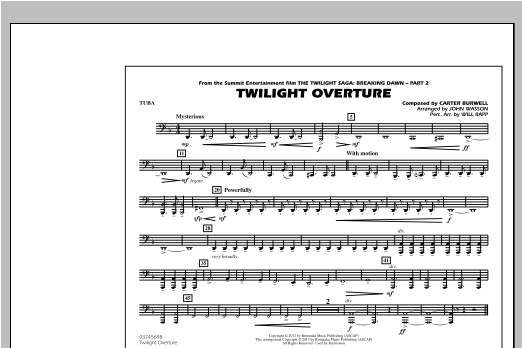 John Wasson Twilight Overture - Tuba sheet music notes and chords. Download Printable PDF.