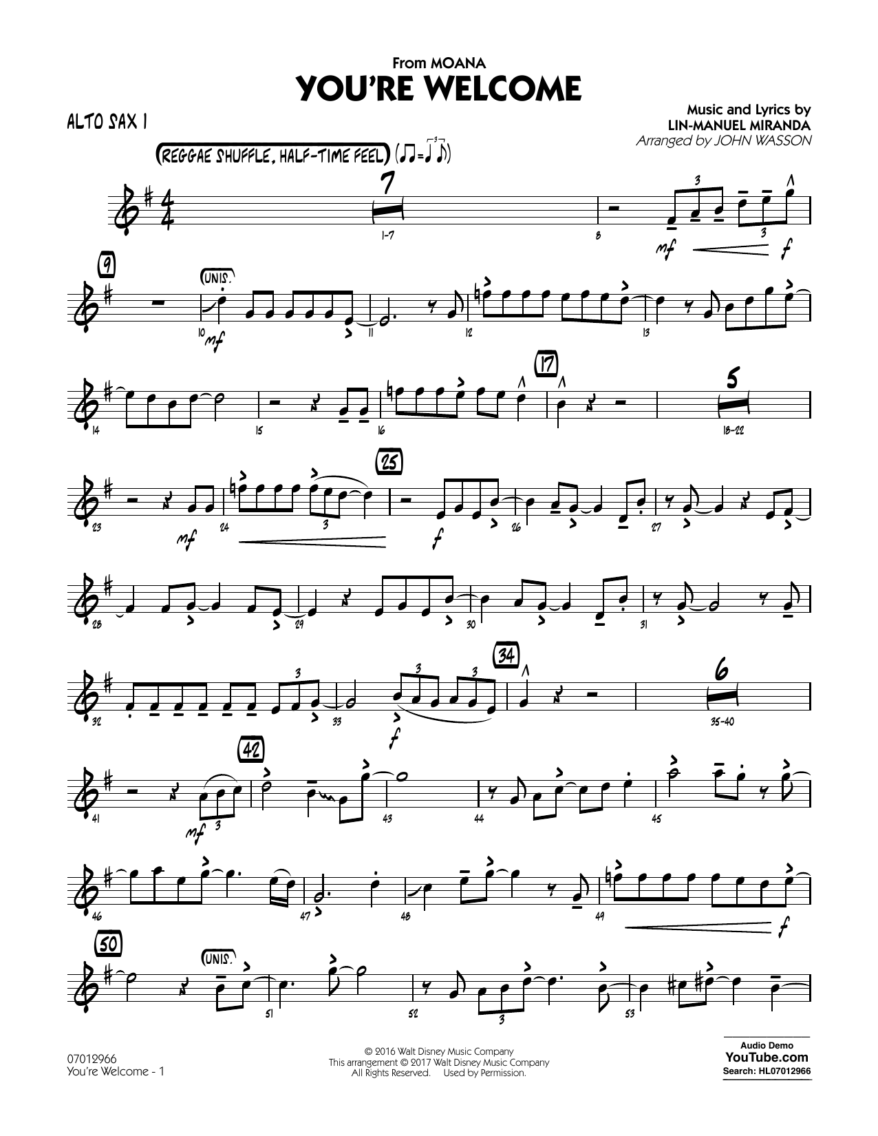 John Wasson You're Welcome (from Moana) - Alto Sax 1 sheet music notes and chords. Download Printable PDF.