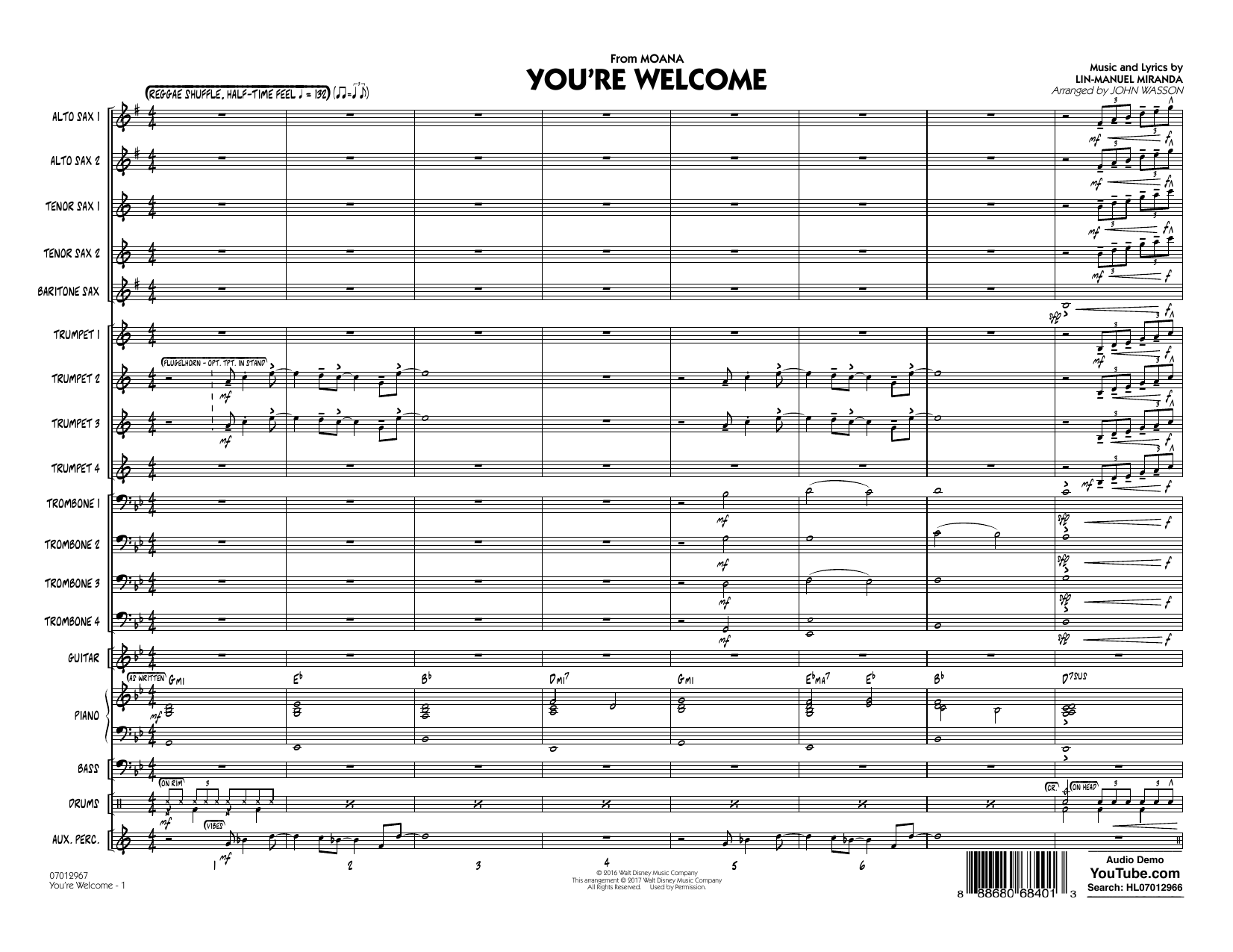 John Wasson You're Welcome (from Moana) - Conductor Score (Full Score) sheet music notes and chords. Download Printable PDF.