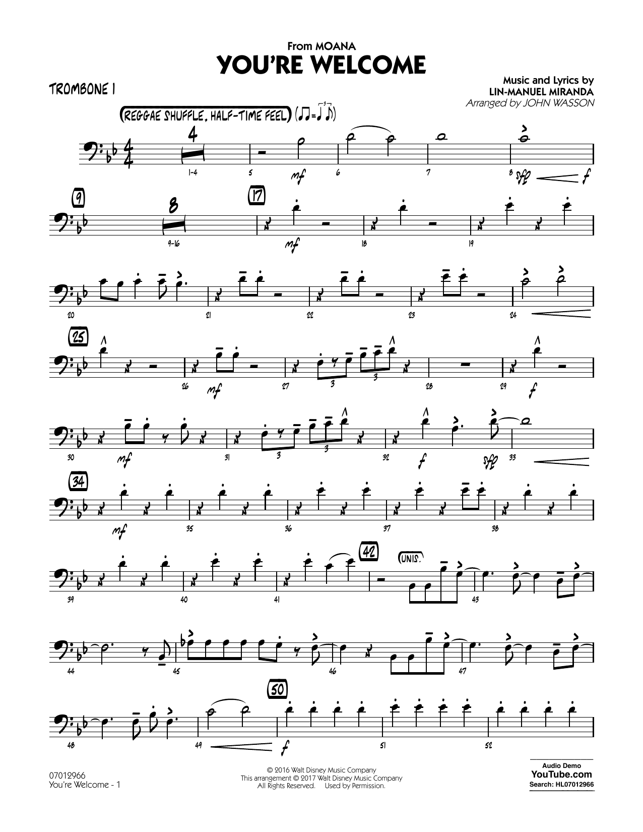 John Wasson You're Welcome (from Moana) - Trombone 1 sheet music notes and chords. Download Printable PDF.