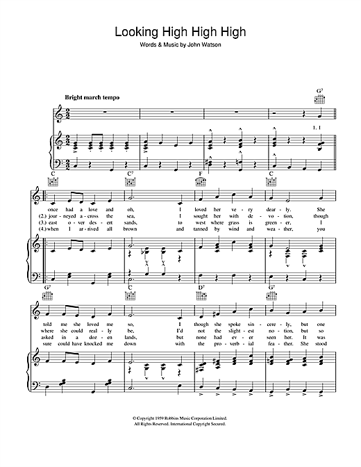 John Watson Looking High High High sheet music notes and chords. Download Printable PDF.