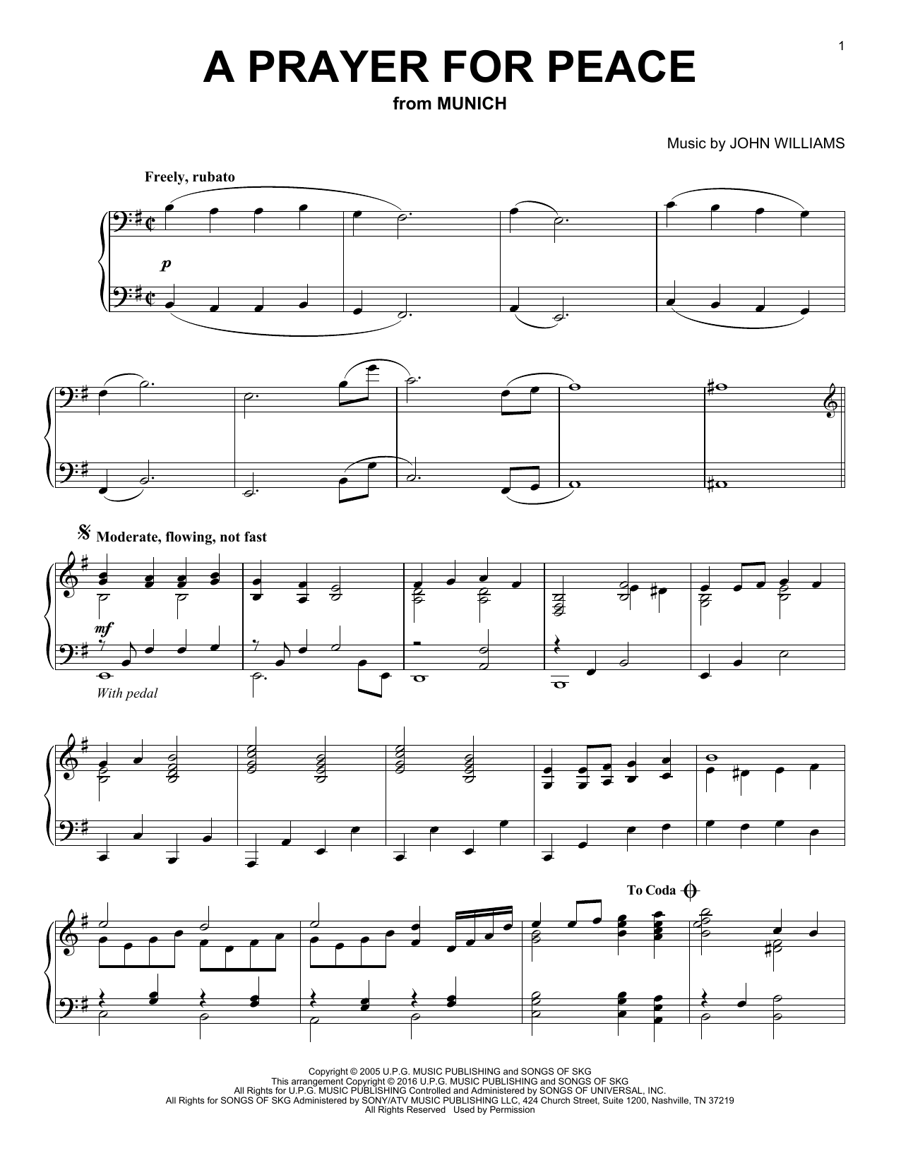 John Williams A Prayer For Peace sheet music notes and chords