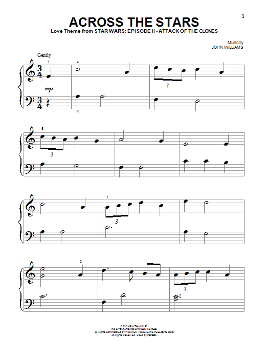 John Williams Across The Stars sheet music notes and chords