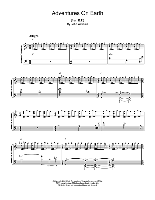 John Williams Adventures On Earth (from E.T. The Extra-Terrestrial) sheet music notes and chords