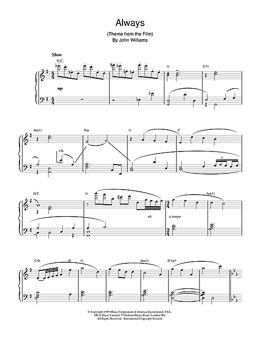 John Williams Always sheet music notes and chords