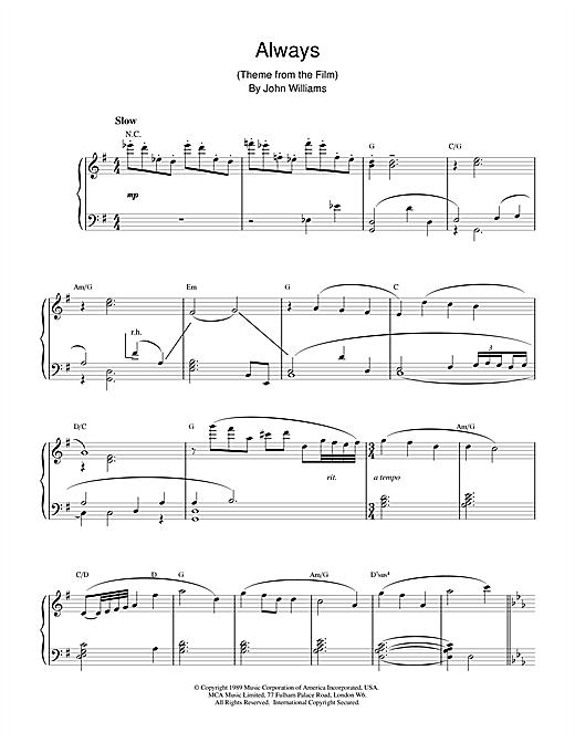 John Williams Always sheet music notes and chords. Download Printable PDF.