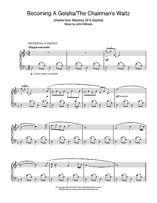 John Williams Becoming A Geisha/The Chairman's Waltz (theme from Memoirs Of A Geisha) sheet music notes and chords. Download Printable PDF.