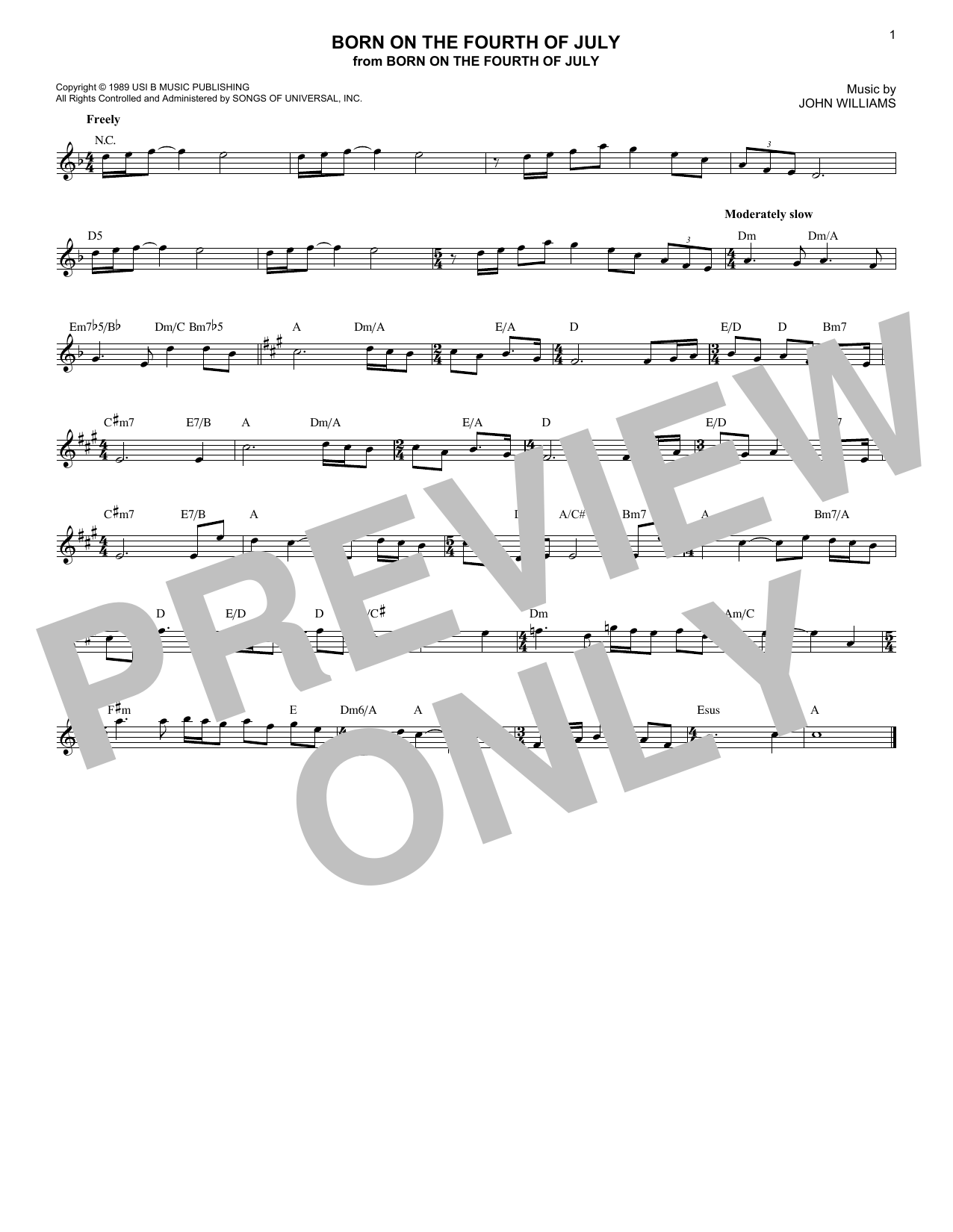 John Williams Born On The Fourth Of July sheet music notes and chords. Download Printable PDF.