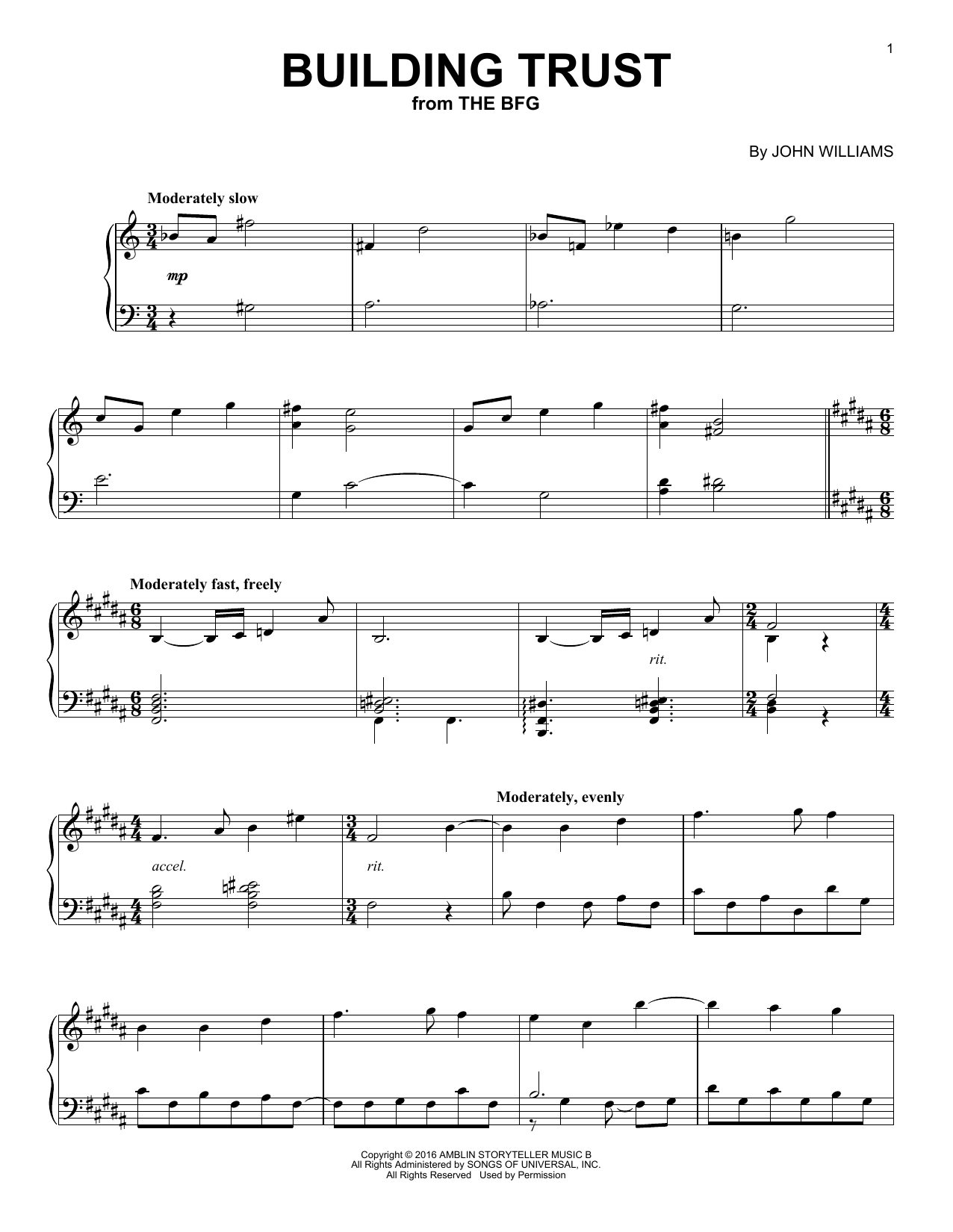 John Williams Building Trust sheet music notes and chords. Download Printable PDF.