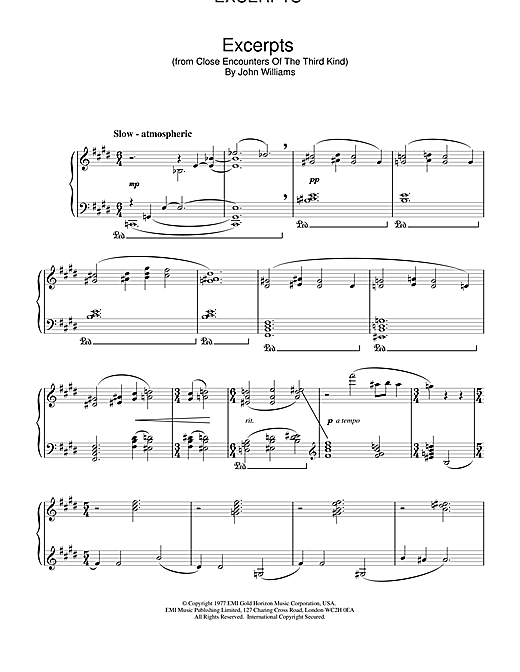John Williams Excerpts (from Close Encounters Of The Third Kind) sheet music notes and chords