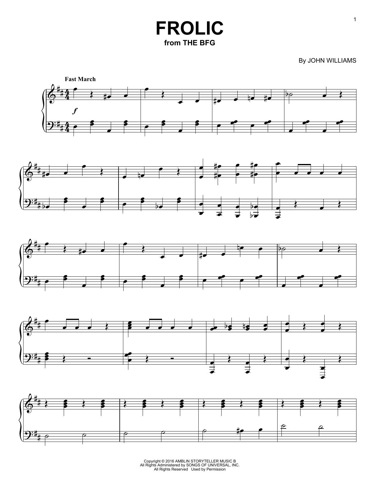 John Williams Frolic sheet music notes and chords. Download Printable PDF.