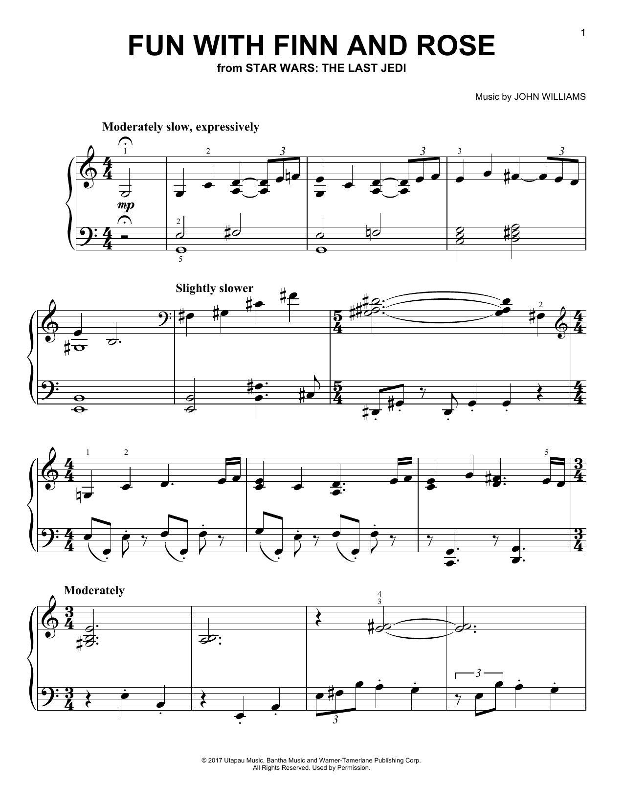 John Williams Fun With Finn And Rose sheet music notes and chords. Download Printable PDF.
