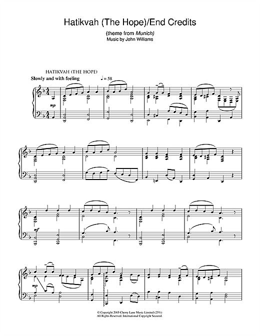 John Williams Hatikvah (The Hope)/End Credits (from Munich) sheet music notes and chords. Download Printable PDF.