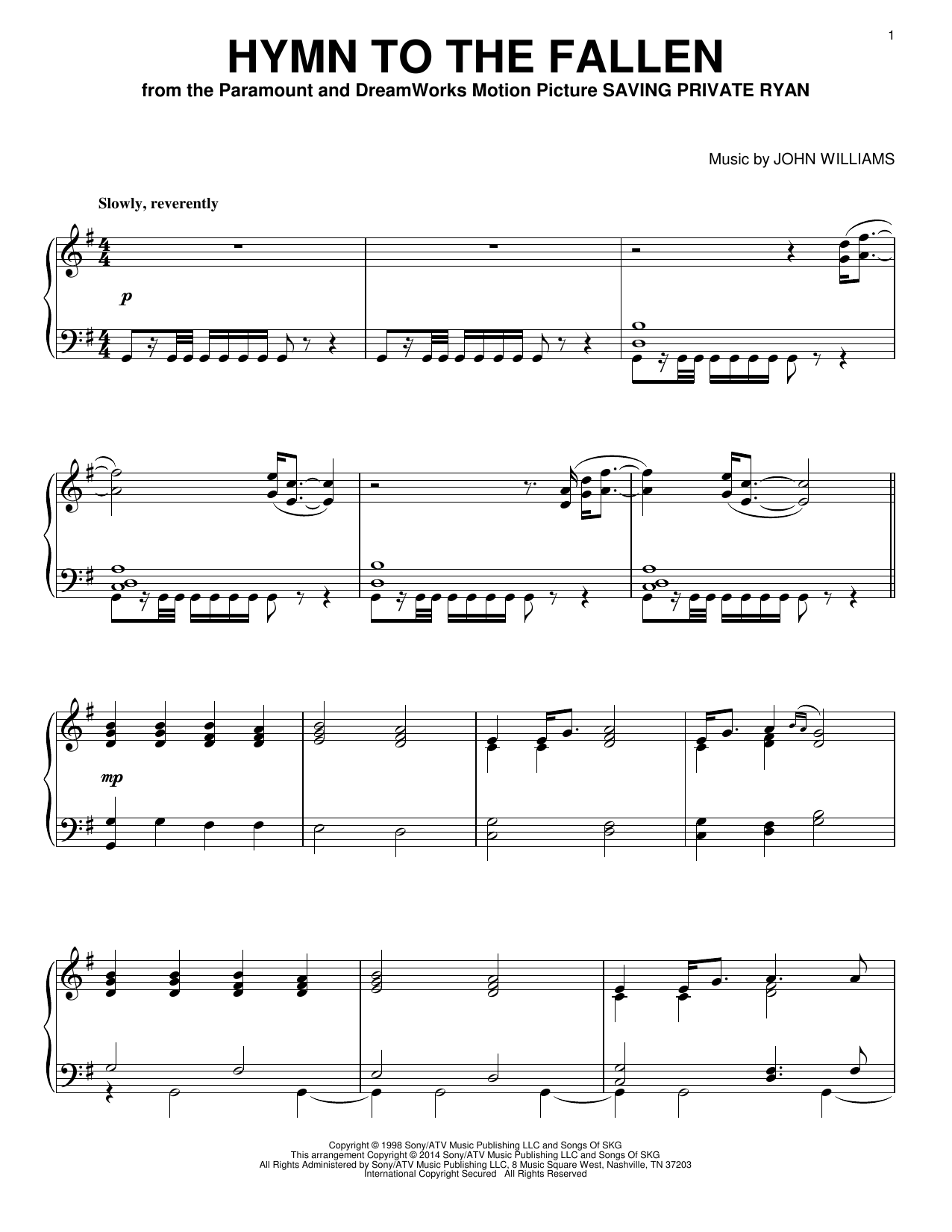 John Williams Hymn To The Fallen sheet music notes and chords