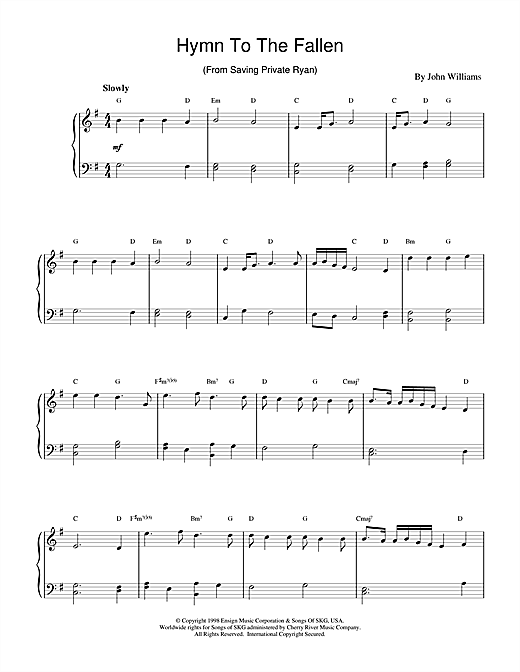 John Williams Hymn To The Fallen (from Saving Private Ryan) sheet music notes and chords