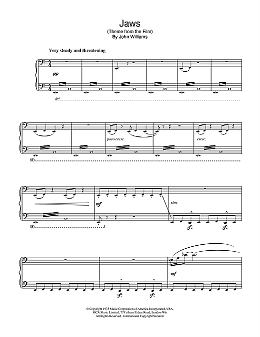 John Williams Jaws (Theme from the Film) sheet music notes and chords