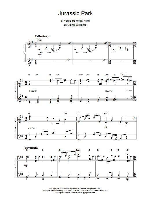John Williams Jurassic Park sheet music notes and chords. Download Printable PDF.
