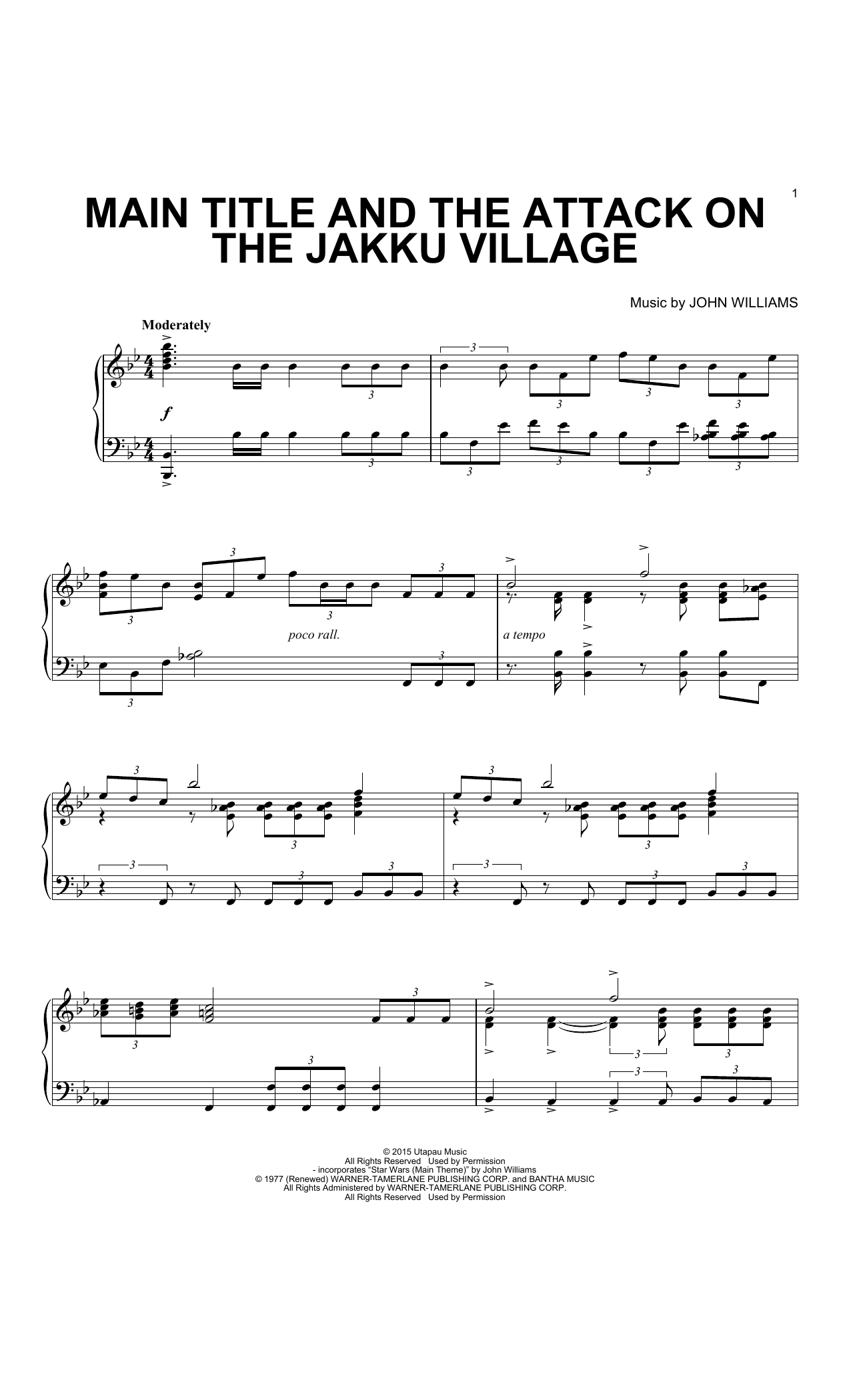 John Williams Main Title And The Attack On The Jakku Village sheet music notes and chords. Download Printable PDF.