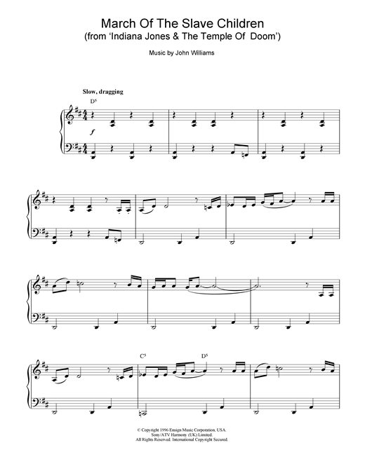 John Williams March Of The Slave Children (from Indiana Jones And The Temple Of Doom) sheet music notes and chords