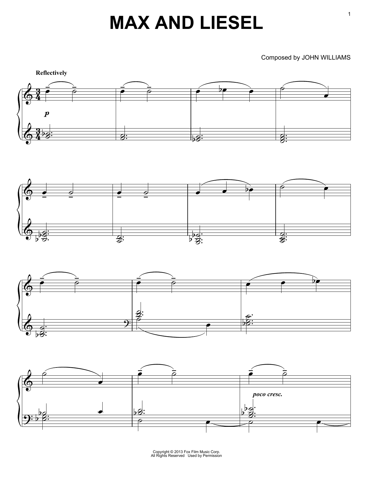 John Williams Max And Liesel sheet music notes and chords. Download Printable PDF.