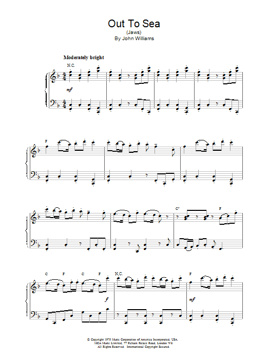 John Williams Out To Sea (from Jaws) sheet music notes and chords. Download Printable PDF.