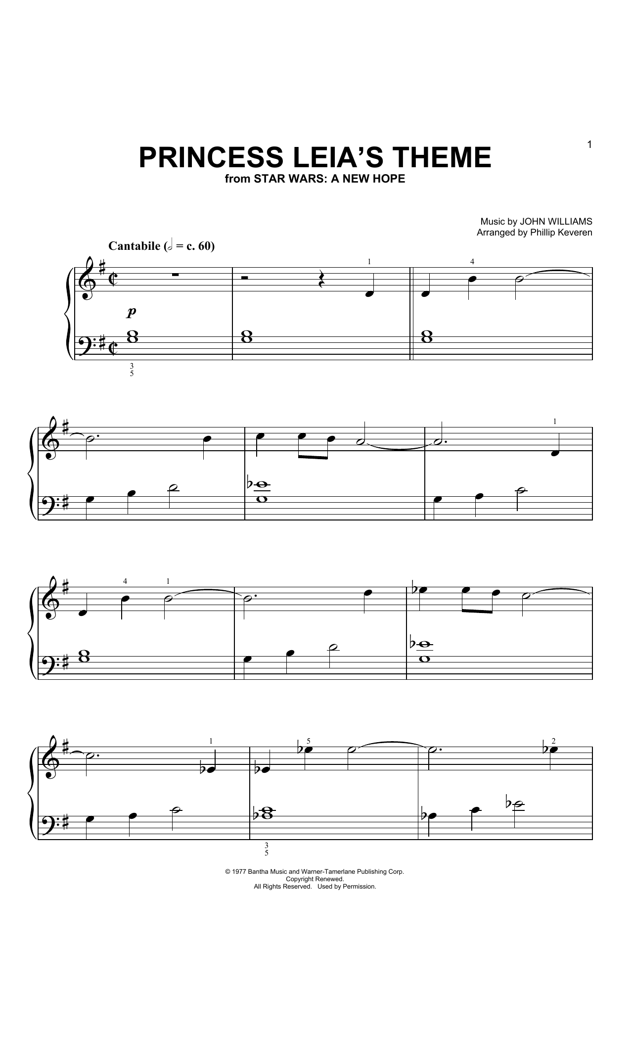 John Williams Princess Leia's Theme (Arr. Phillip Keveren) sheet music notes and chords. Download Printable PDF.