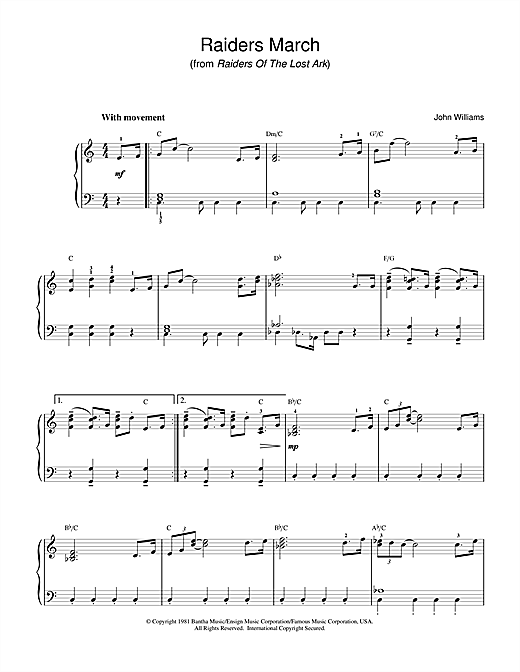 John Williams Raiders March (from Raiders Of The Lost Ark) sheet music notes and chords
