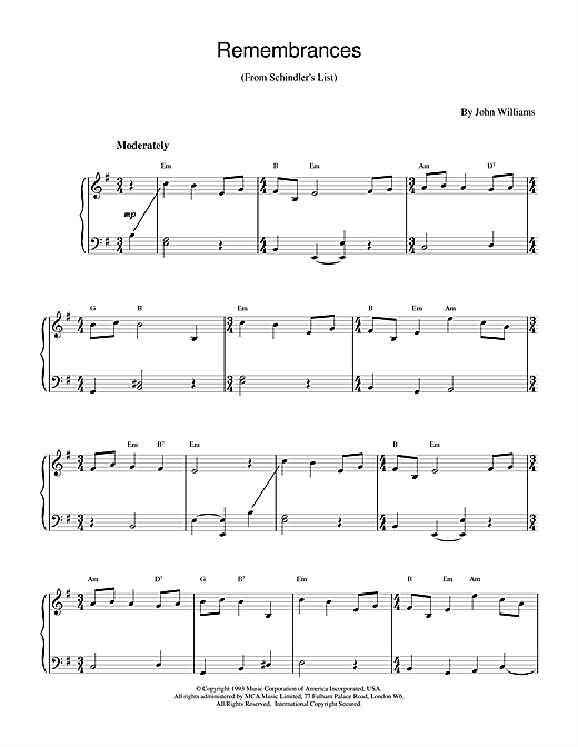 John Williams Remembrances (from Schindler's List) sheet music notes and chords