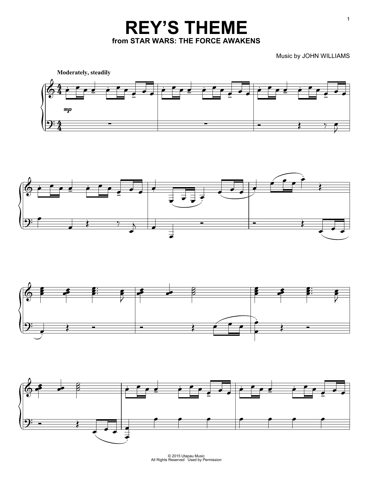John Williams Rey's Theme sheet music notes and chords