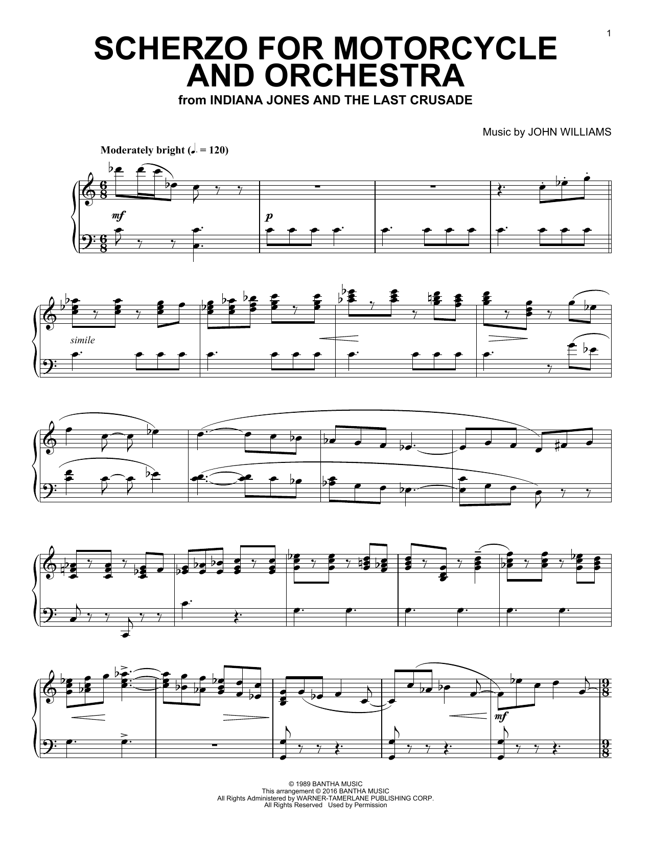 John Williams Scherzo For Motorcycle And Orchestra sheet music notes and chords. Download Printable PDF.