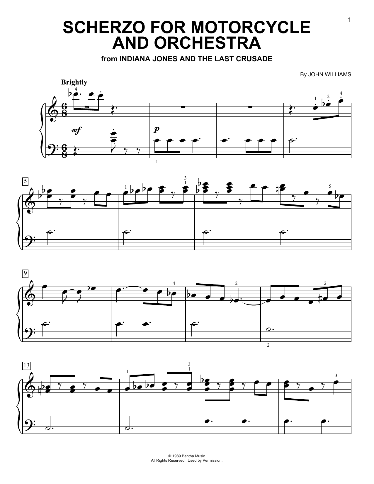John Williams Scherzo For Motorcycle And Orchestra (from Indiana Jones) sheet music notes and chords. Download Printable PDF.