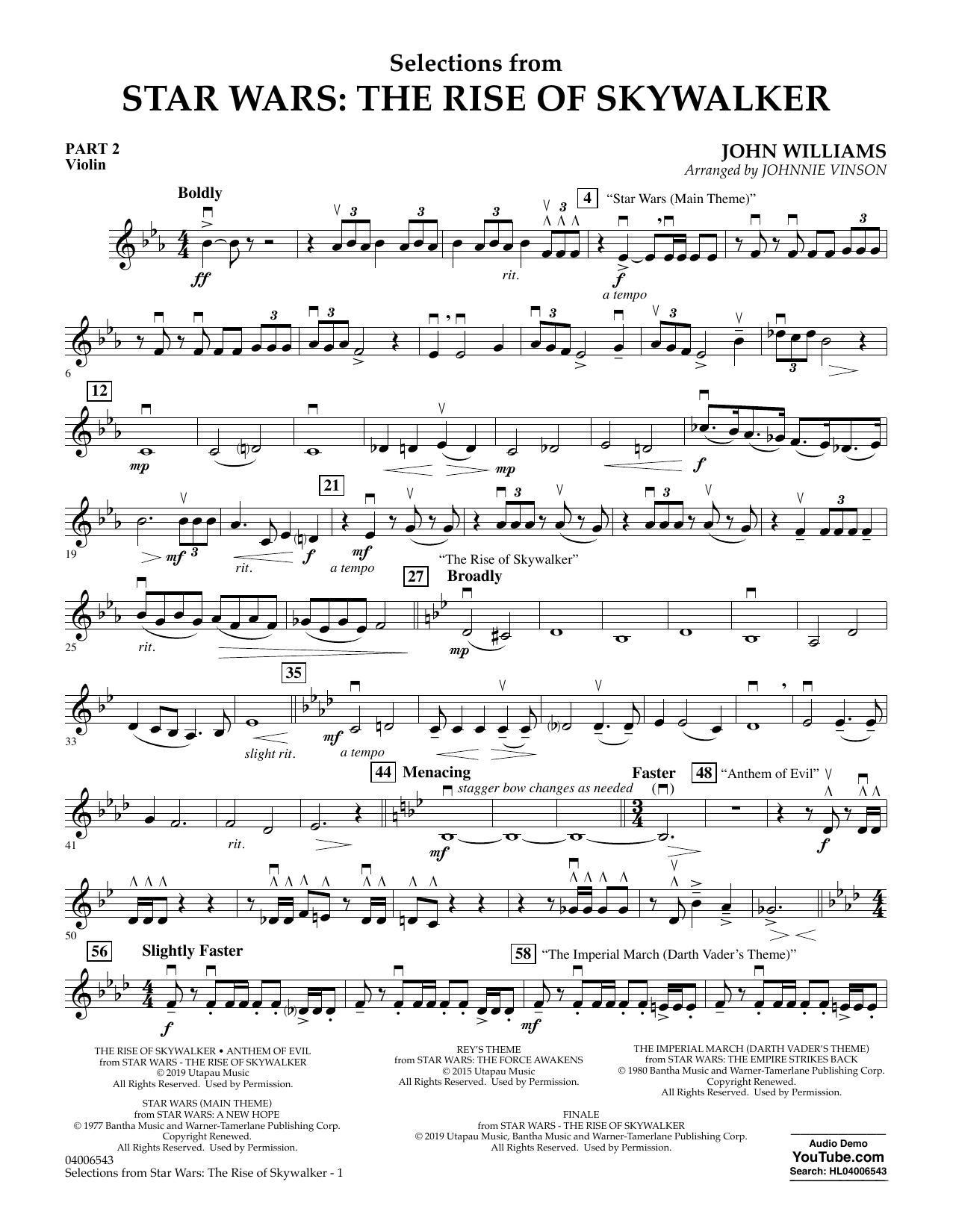 John Williams Selections from Star Wars: The Rise of Skywalker - Pt.2 - Violin sheet music notes and chords. Download Printable PDF.
