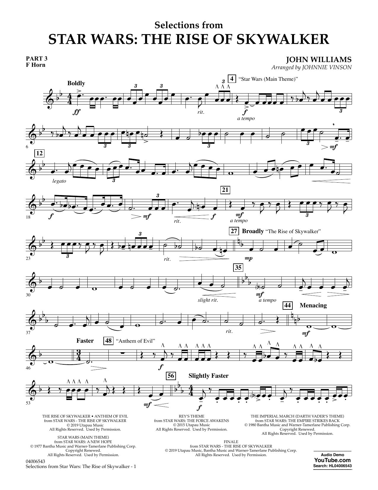 John Williams Selections from Star Wars: The Rise of Skywalker - Pt.3 - F Horn sheet music notes and chords. Download Printable PDF.