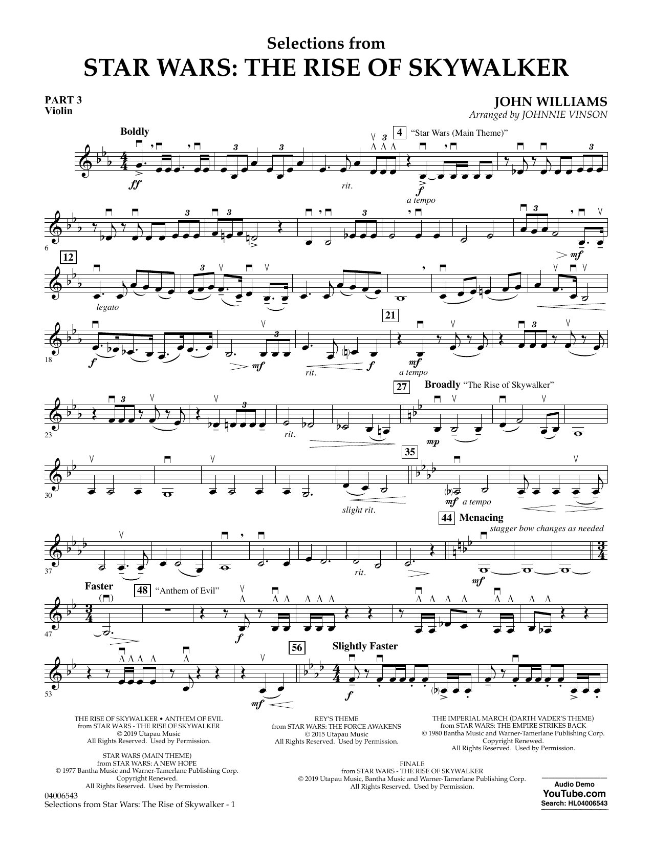 John Williams Selections from Star Wars: The Rise of Skywalker - Pt.3 - Violin sheet music notes and chords. Download Printable PDF.