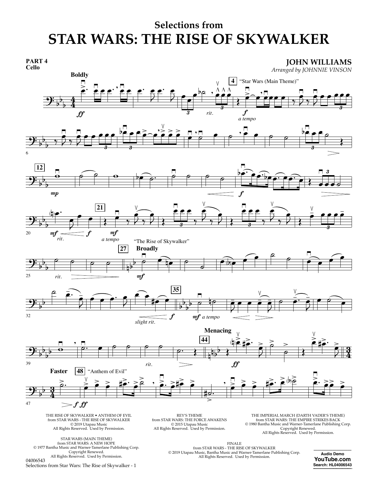 John Williams Selections from Star Wars: The Rise of Skywalker - Pt.4 - Cello sheet music notes and chords. Download Printable PDF.