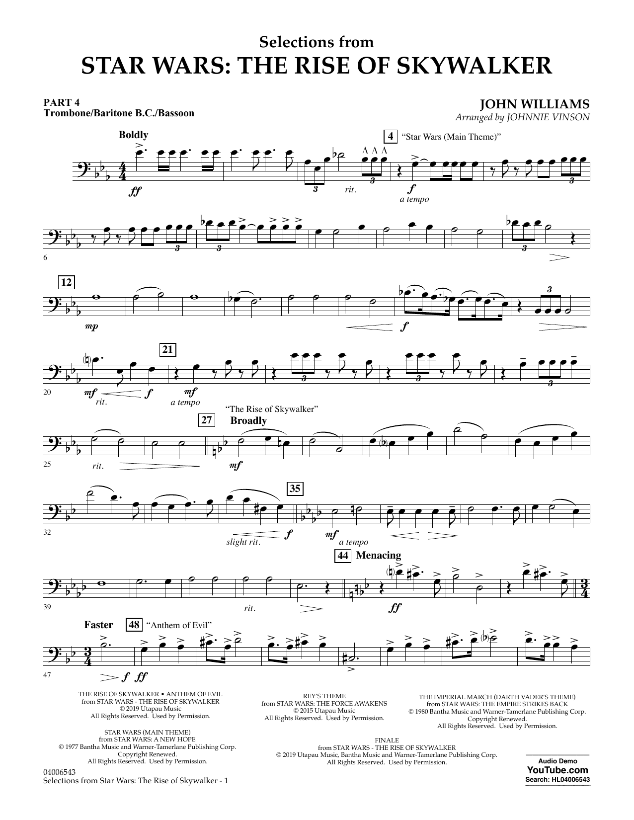 John Williams Selections from Star Wars: The Rise of Skywalker - Pt.4 - Trombone/Bar. B.C./Bsn. sheet music notes and chords. Download Printable PDF.